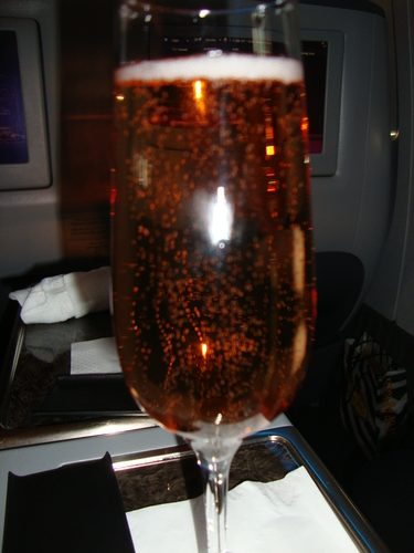 Pre-Departure Rose Champagne, Qatar Airways