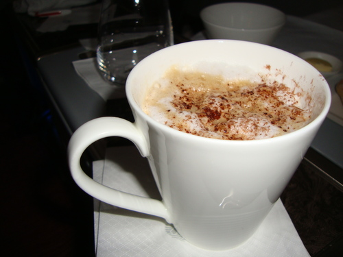 Qatar Airways Business Class Cappuccino